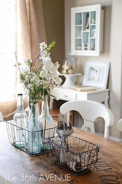 Decorating with baskets the cottage market for Ways to decorate dining room table