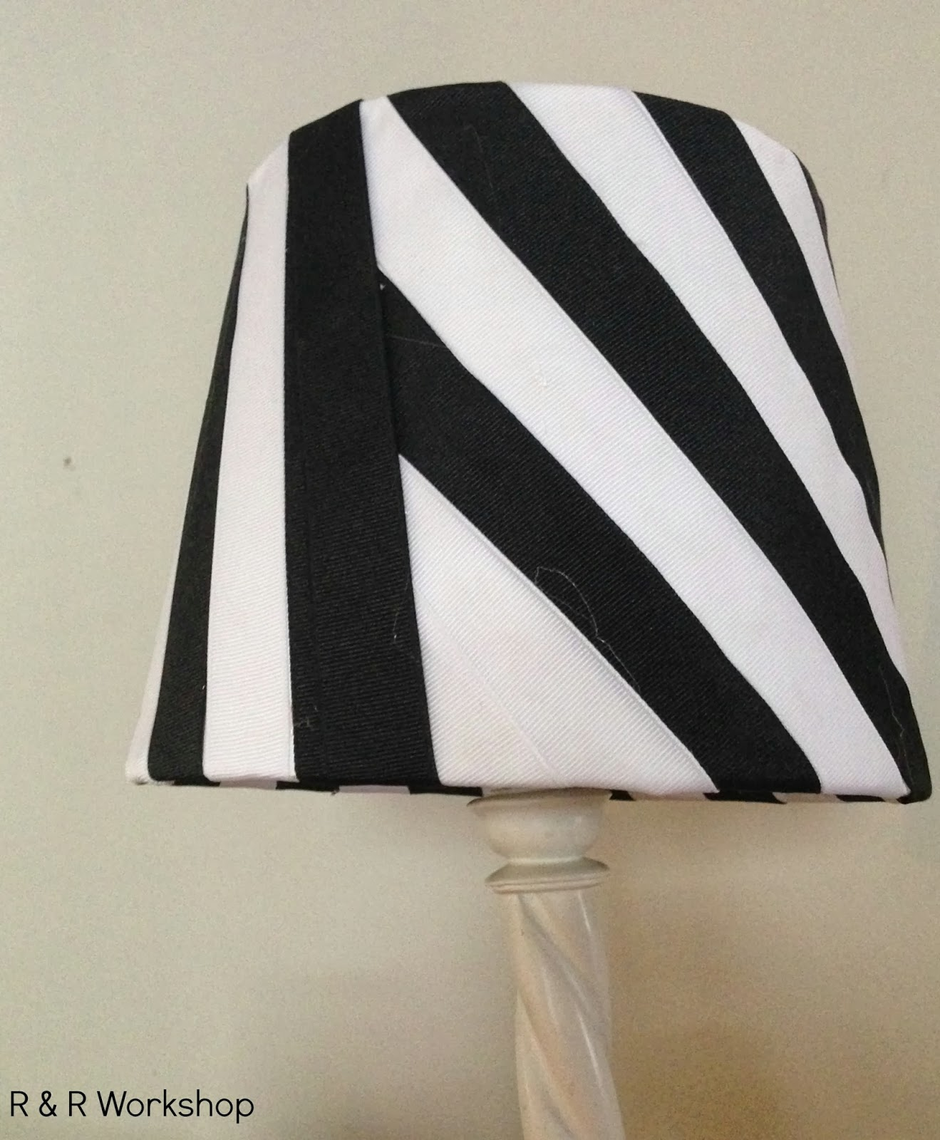 Striped ribbon lampshade the ribbon retreat blog mozeypictures Image collections