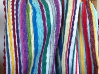 crochet stripy baby blanket