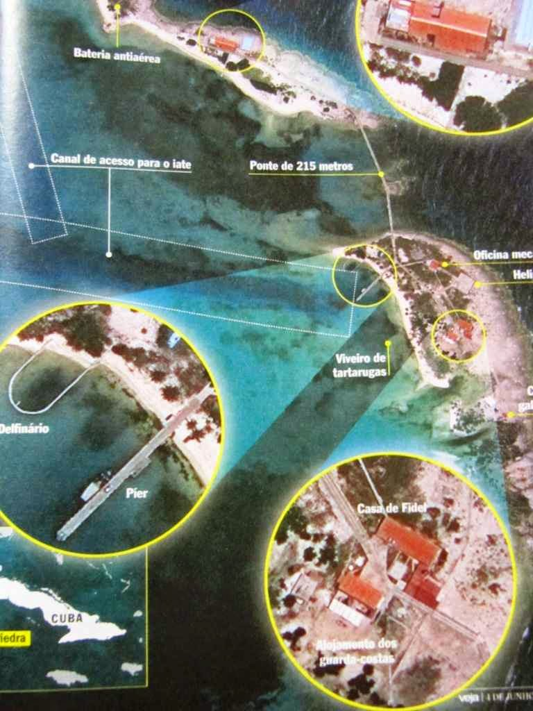 Ilhas de prazer onde Fidel recebe teólogos e ativistas 'defensores dos pobres'.  Fonte: revista Veja