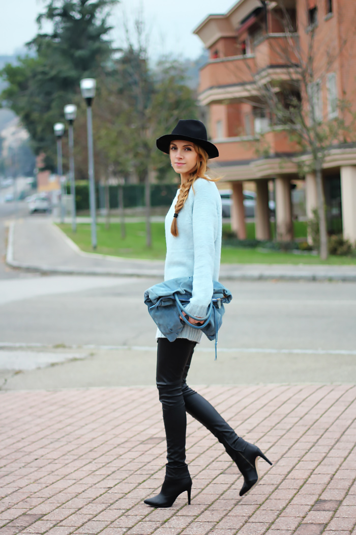zip mint sweater, zipper pullover, leather pats, zara fedora, coccinelle bag