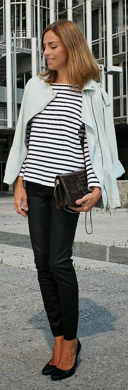 street style: elegant black and white striped top with leather skinny jeans and biker jacket