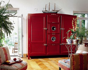 red colour Meneghini three-door La Cambusa refrigerator fridge