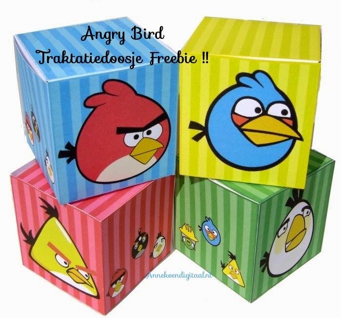 Angry bird traktatie, traktatiedoosje, traktatie knutselen, freebie traktatie, gratis traktatie bouwplaat
