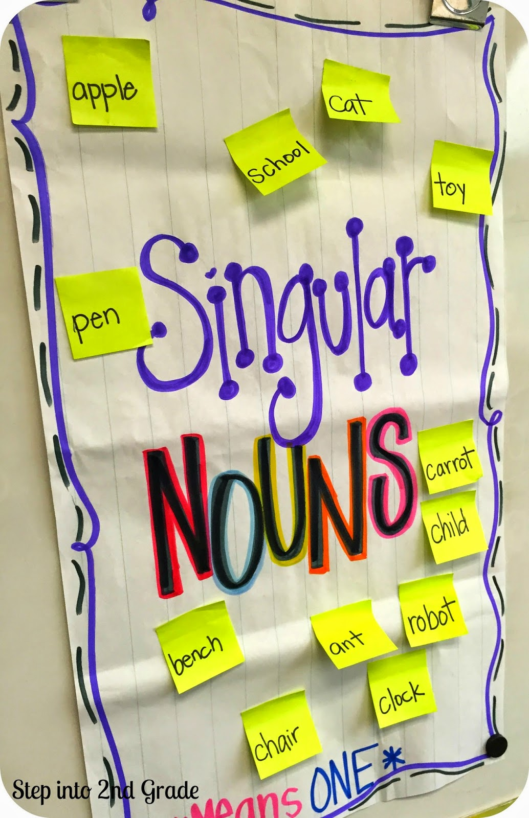 Singular and plural nouns step into 2nd grade with mrs lemons then we worked on making the singular nouns plural we transferred big word for the day the singular nouns to the plural noun chart after making them reviewsmspy