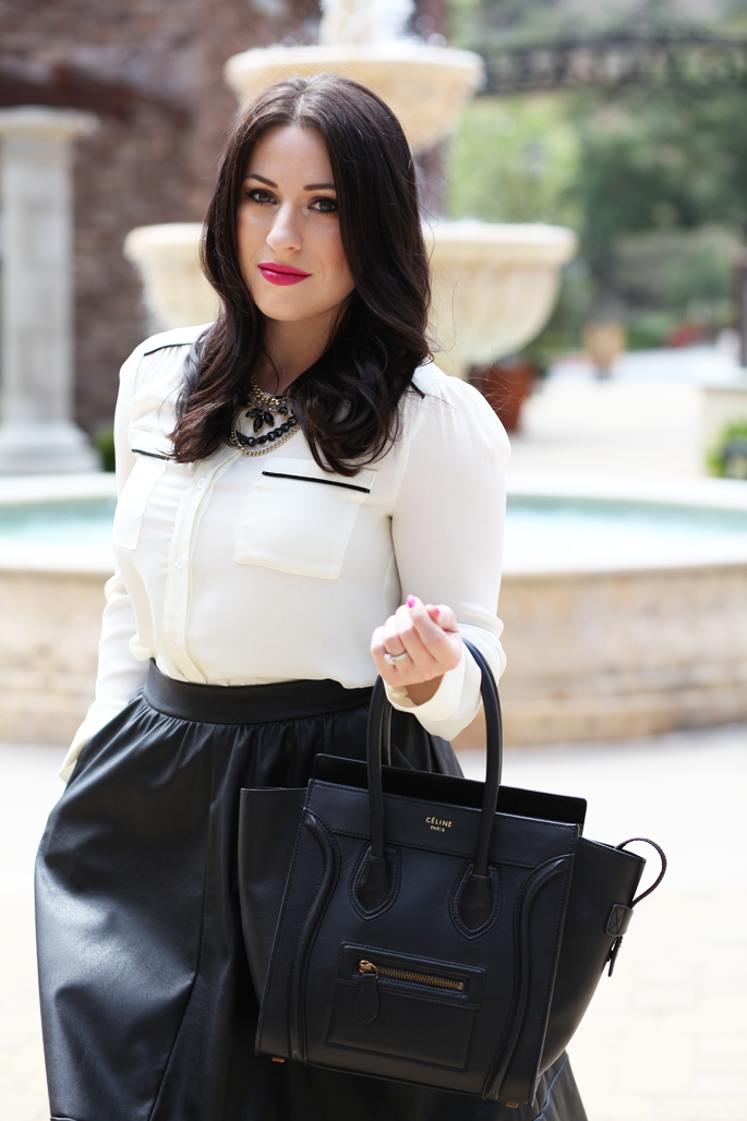 faux-leather-full-skirt-celine-bag-black-and-white-outfit-ideas-le-tote