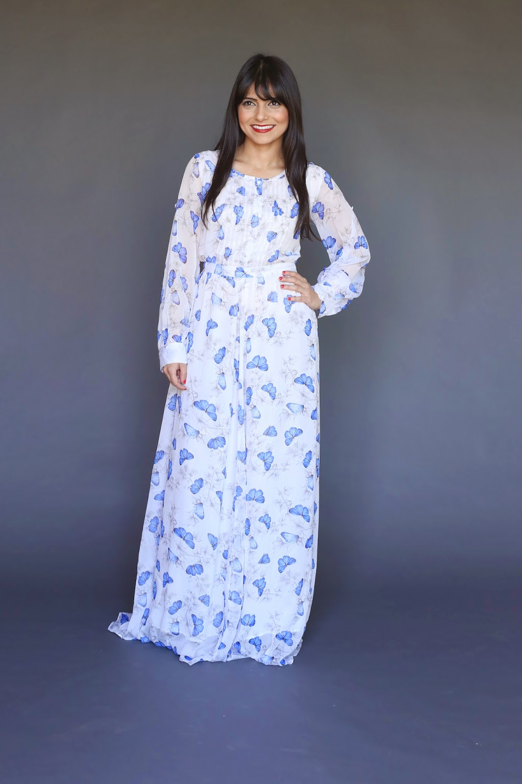 modest long sleeve maxi dress with all over butterfly print wedding guest beautiful dress hijab tznius fashion style Mode-sty