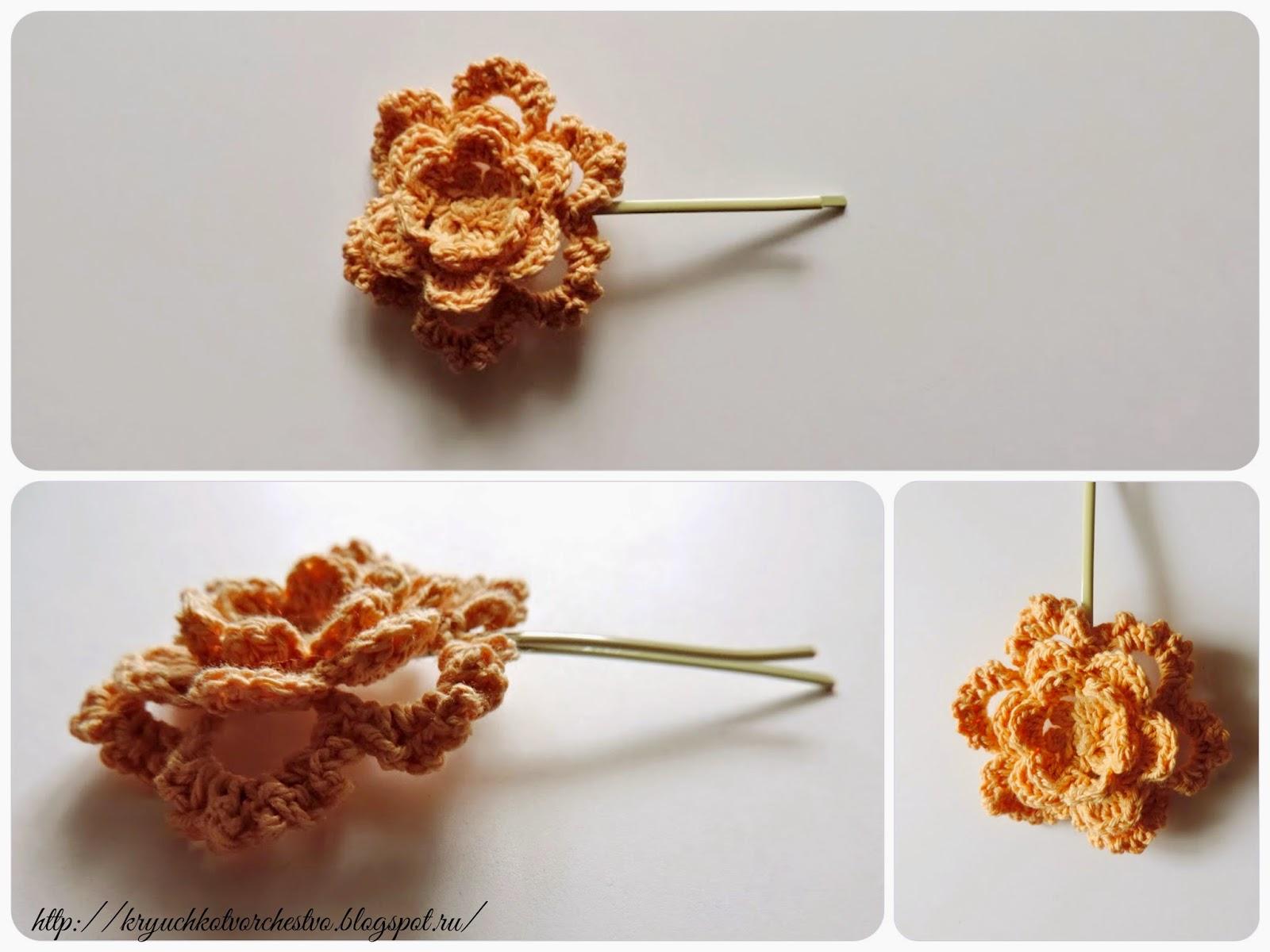 вязаные цветы, заколка для волос своими руками