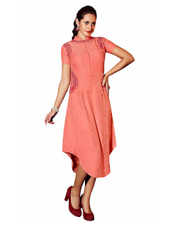 Peach Linen Party Wear Kurti