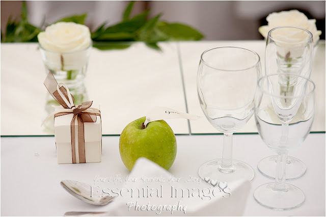 Green apples place name for wedding breakfast idea