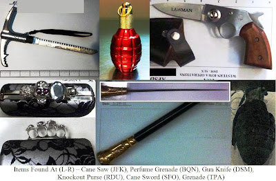 Knives, inert grenades, knuckle purse, cane saw and cane sword.