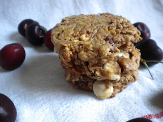 White Chocolate Cherry Oatmeal Cookies - Treats With a Twist