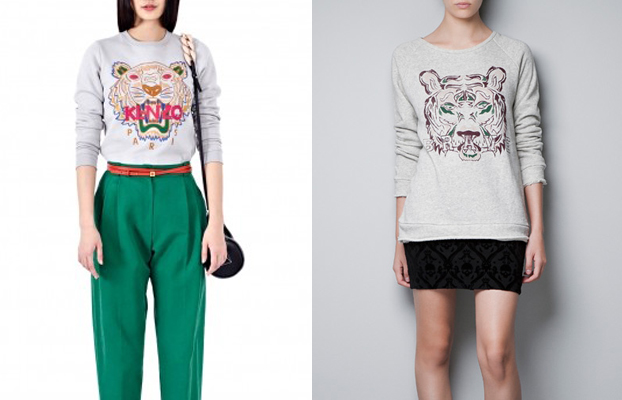 kenzo tiger sweatshirt vs zara tiger-print sweatshirt