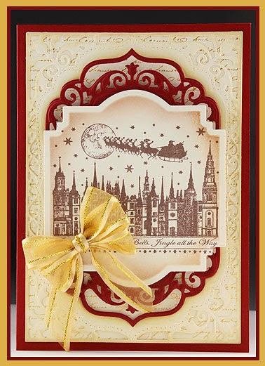 my idea started when i saw this beautiful stamp from crafty individuals called jingle bells rooftops i started with an off white piece of card stock and - How Many Days Away Is Christmas