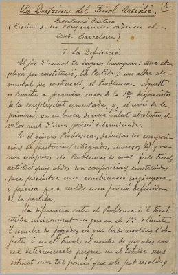 """Manuscrito de """"La Doctrina del Final Artístico"""", página 1"""