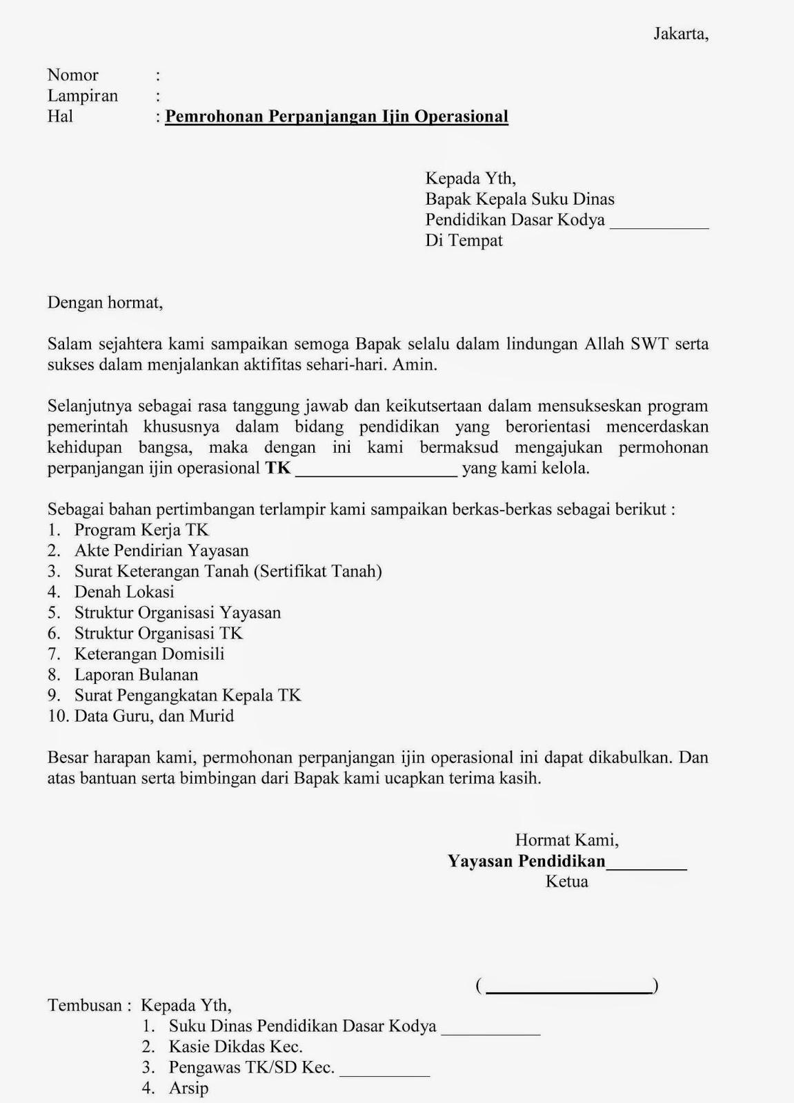 Contoh Surat Permohonan Perpanjangan Izin Operasional Tk