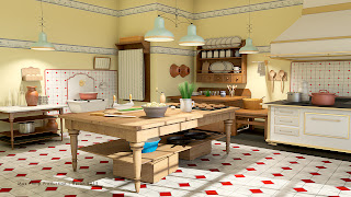 Nostalgic kitchen - rendered with vray