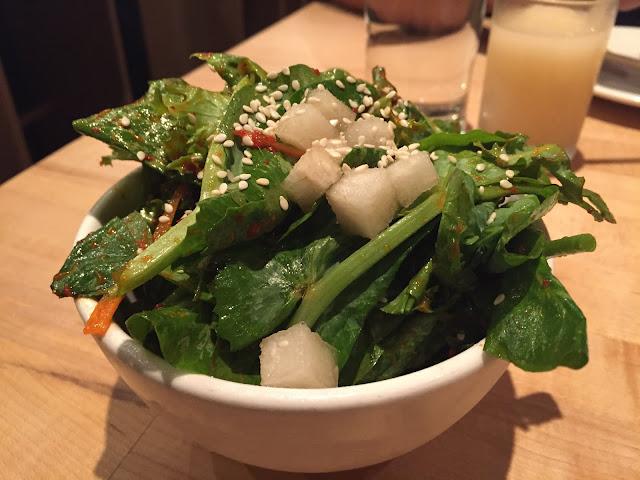 Pea Shoots - Chicory, Sesame, Kimchi Vinaigrette