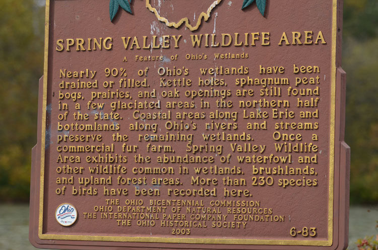 The dedication sign at Spring Valley Wildlife Area in Waynesville, OH.