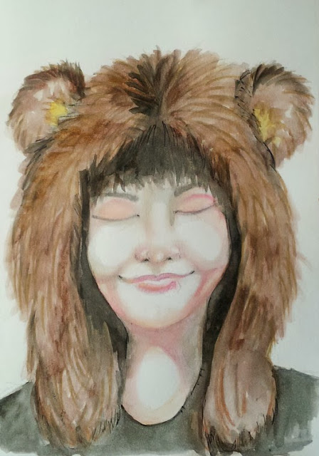 Whoopidooings: Carmen Wing - Bear Hat girl - watercolour crayons #40Portraits