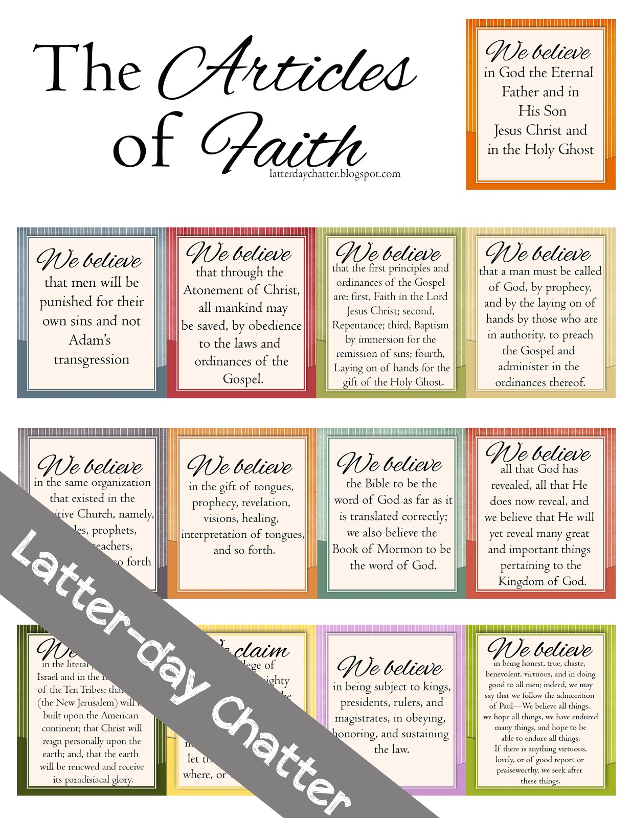 Mesmerizing image with 13 articles of faith printable