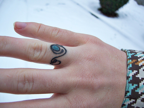 Adventurous couples choose wedding rings tattooed as they are more durable