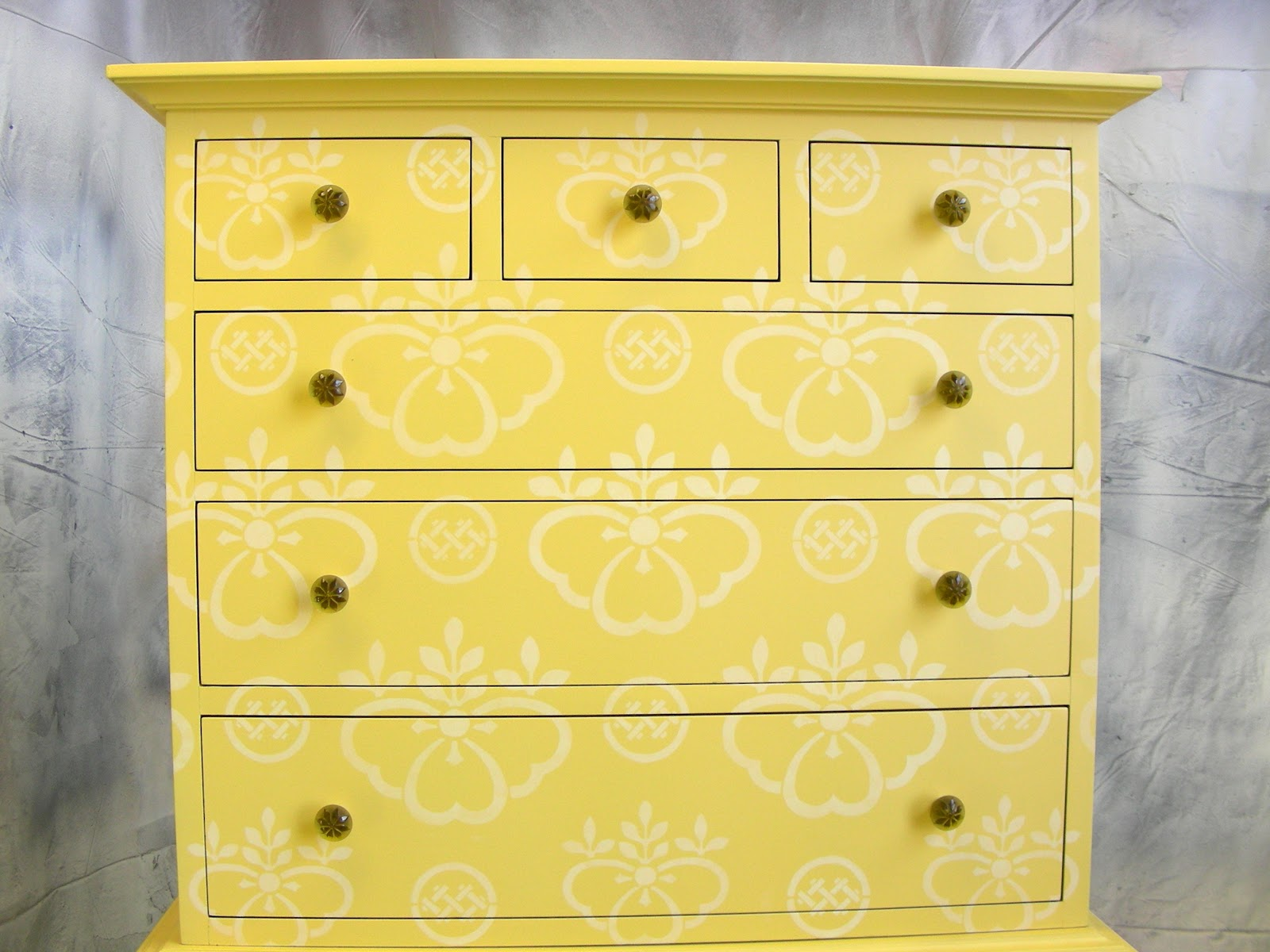 Sydney barton painted furniture yellow stenciled highboy Images of painted furniture