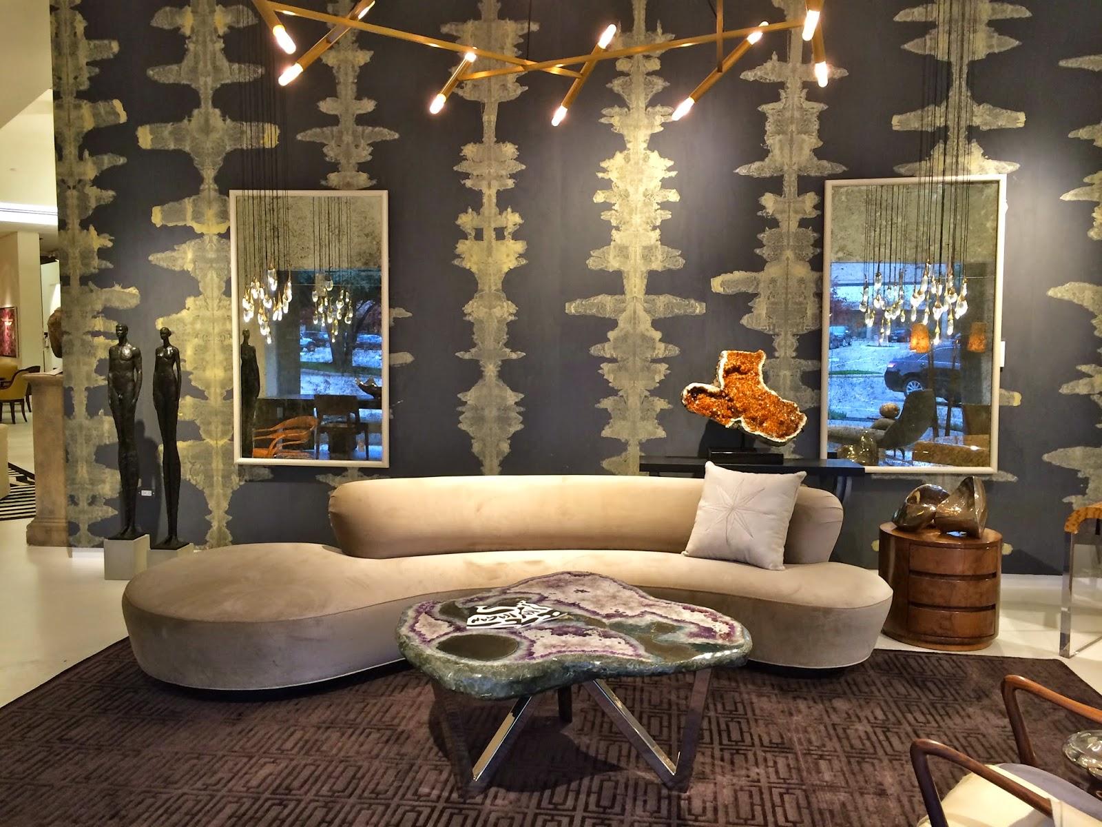 Vladimir Kaganu0027s Serpentine Sofa Paired With Handmade Wallpaper By Porter  Teleo