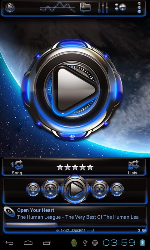 Earth HD Poweramp skin v1.40