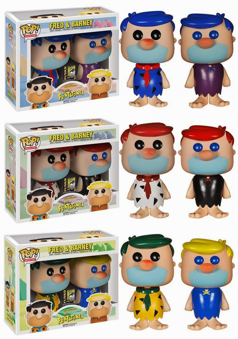 San Diego Comic-Con 2014 Exclusive Wacky Colored The Flintstones Pop! Animation Vinyl Figure Box Sets - Fred Flintstone & Barney Rubble