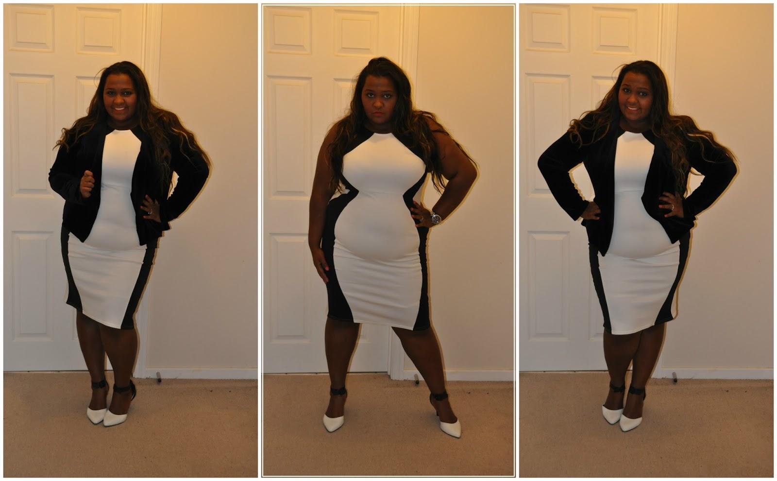 Monochrome dress boohoo plus