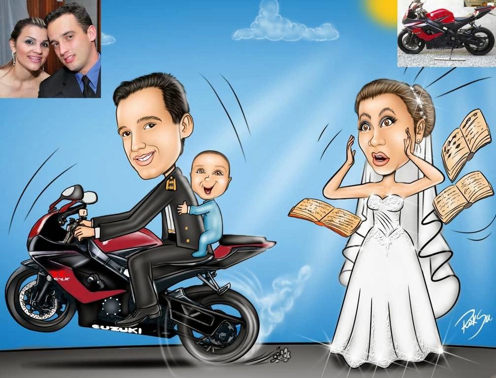 ricksu caricaturas casal com veiculo