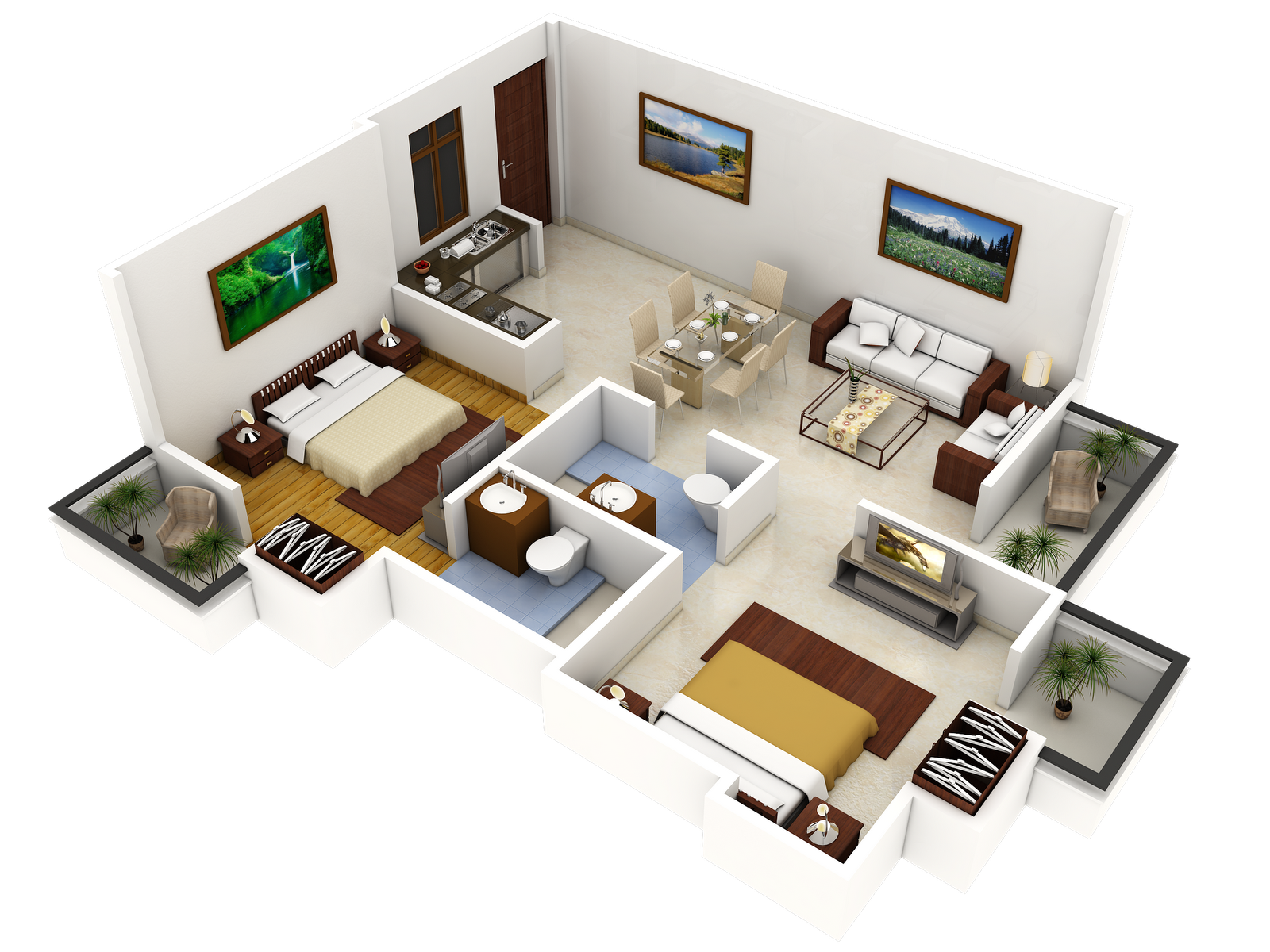 2 bedroom home plans popular interior house ideas House plan 3d view