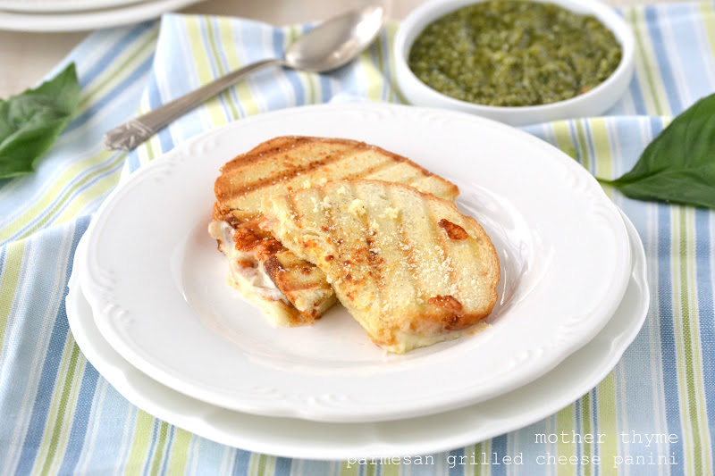 Parmesan Crusted Grilled Cheese with Basil Pesto