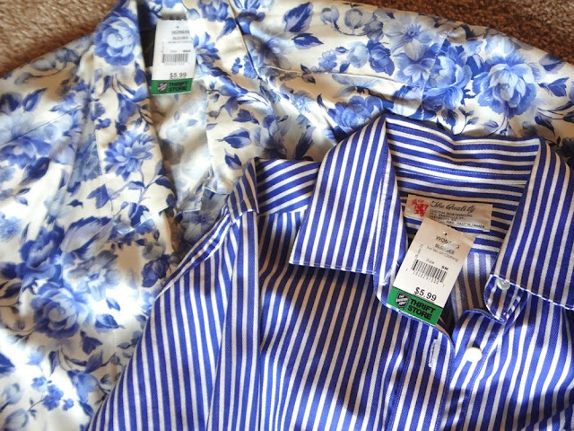 blue and white thrift shop shirts