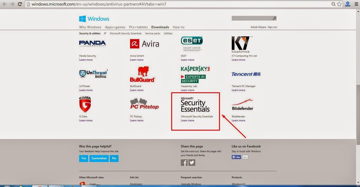 Download Microsoft Security Essentials Antivirus
