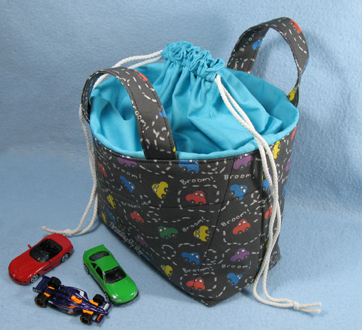 Fabric Basket with Enclosed Drawstring Top ~ Threading My Way