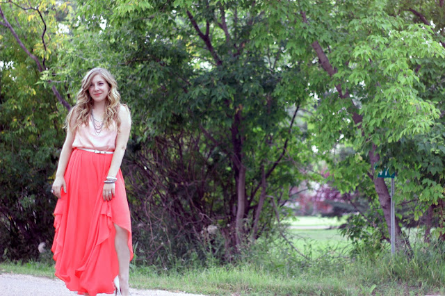 Pretty Little Details: Coral Maxi Skirt with Peach Tank
