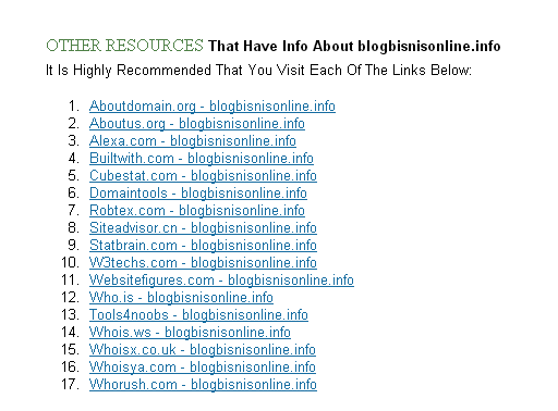 Daftar link ke halaman blog