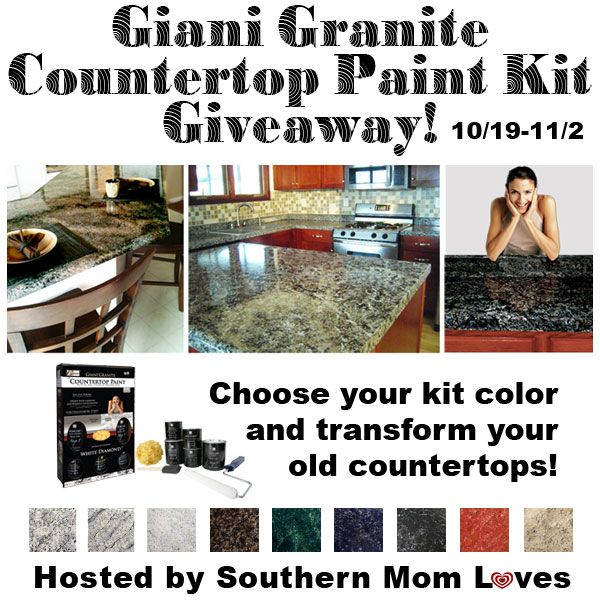 Enter the Giani Granite Countertop Paint Giveaway. Ends 11/2.