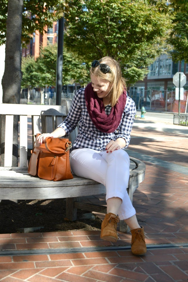Infinity Scarves and Camera Bags | Something Good, infinity scarf, How to wear a scarf, cable scarf, flannel, wedge bootie, gingham