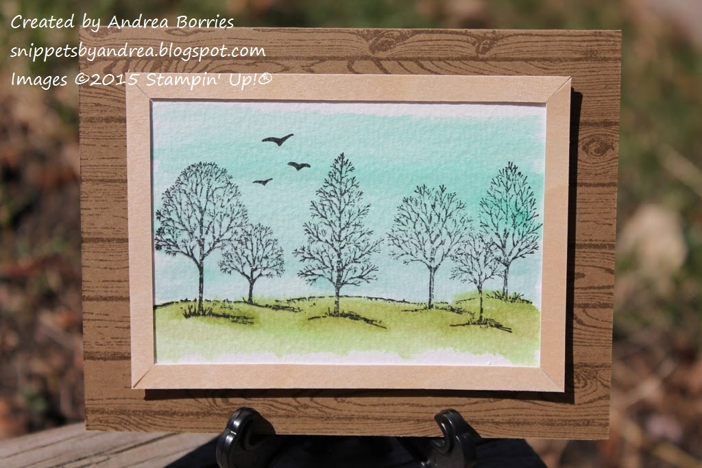 Clean and simple card featuring a focal image made with Lovely As a Tree and a watercolor wash.