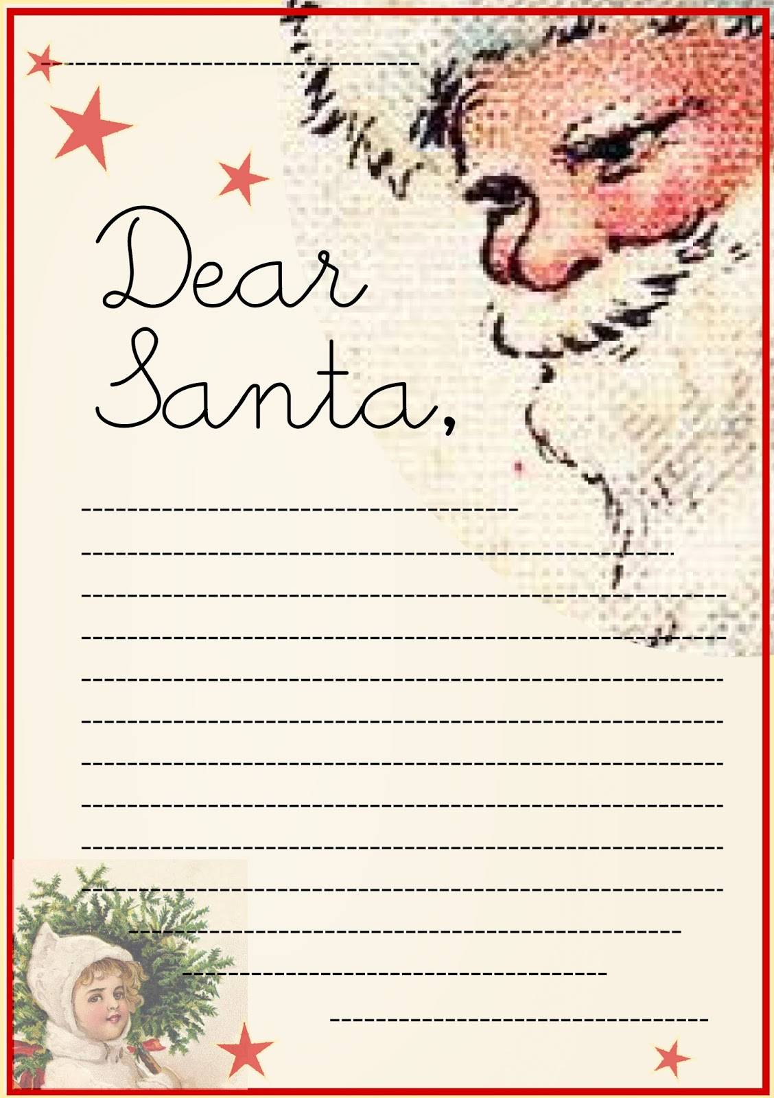 Free printable letter to Santa Claus template for children – Sample Christmas List