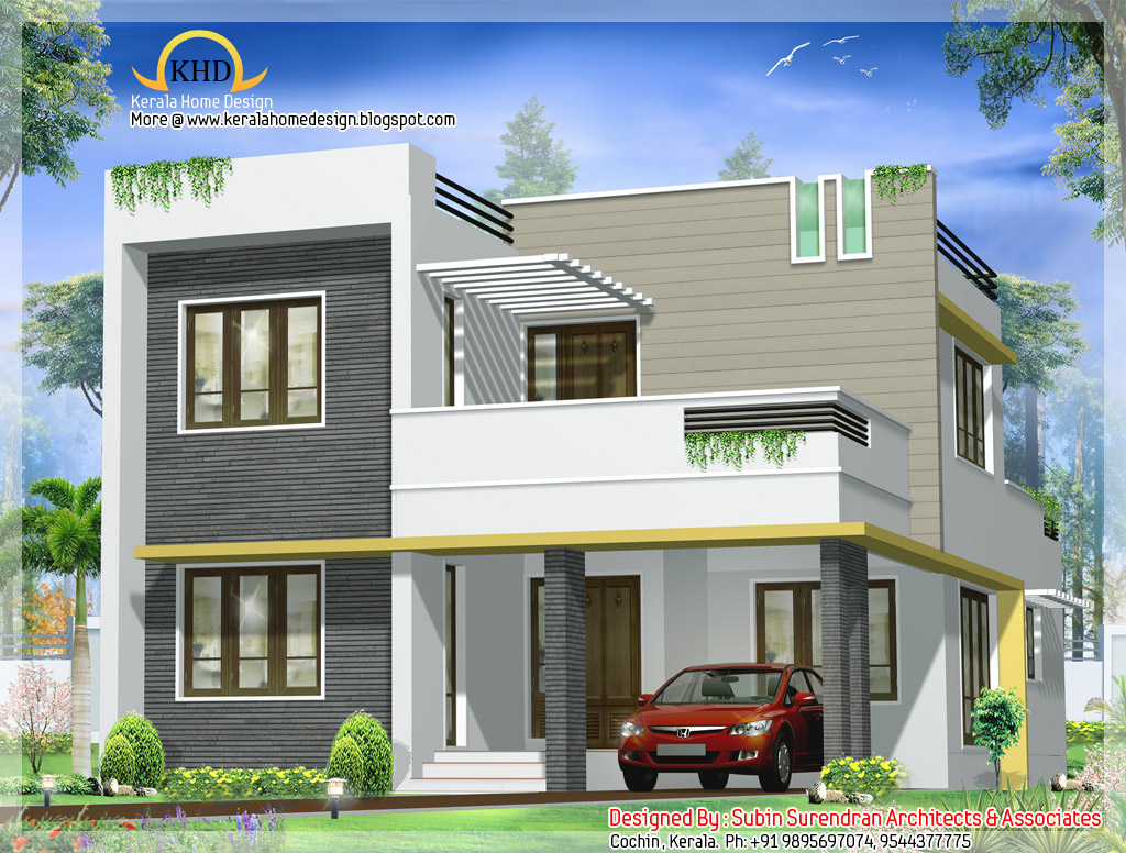 Contemporary villa design 1750 sq ft home appliance for Villa design plan india