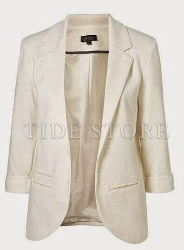 White three-quarter sleeve blazer