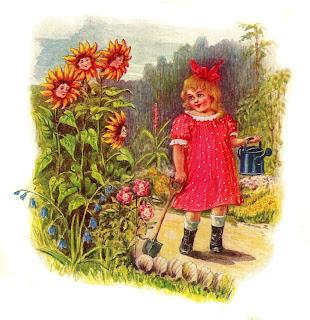 girl garden nursery rhyme image