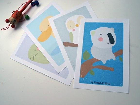postales para niños con animalitos: para decorar, para acompañar regalos...