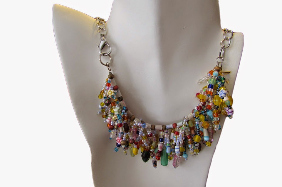 Handmade Beaded Statement Necklace and Bracelet Combo
