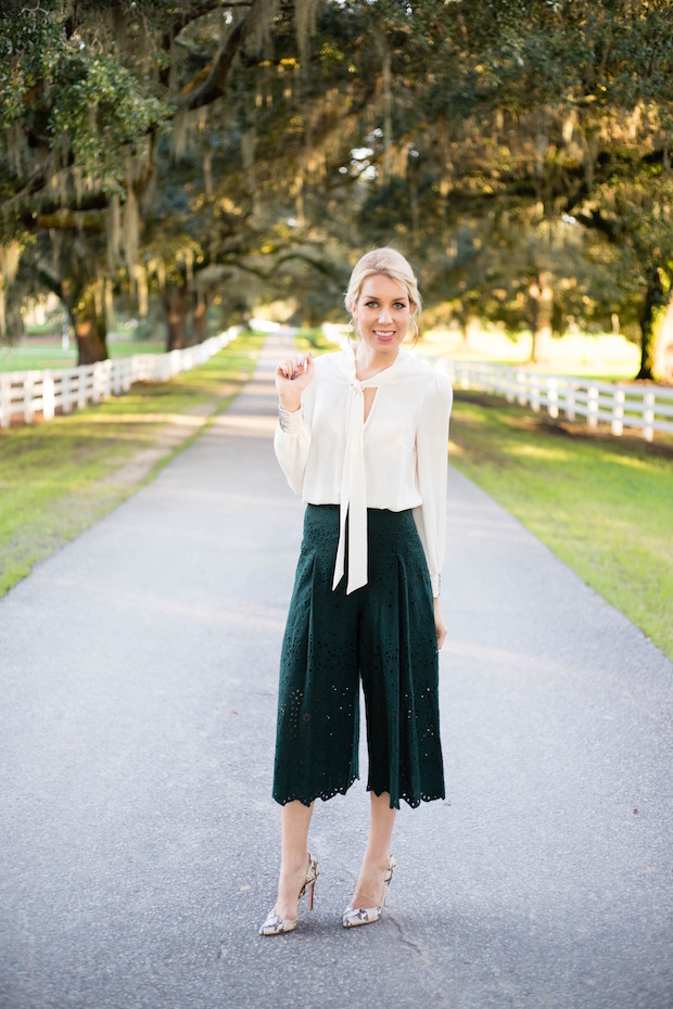 winter white style green culottes eyelet pants wide leg trouser neck tie blouse the supper model best winter style best rising fashion bloggers