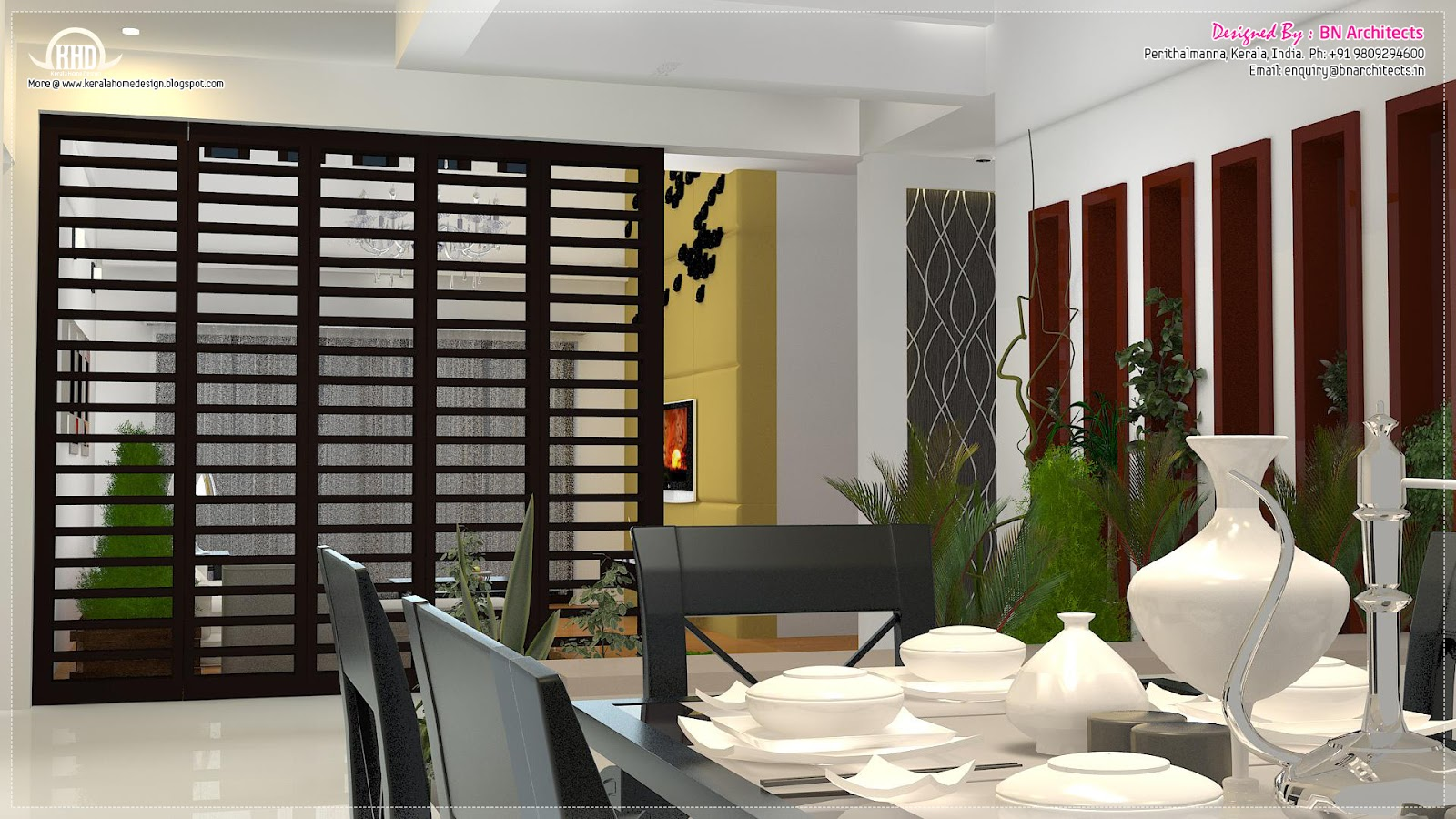 Floor plan 3d views and interiors of 4 bedroom villa for Dining room ideas kerala
